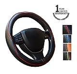 Gomass Cubre Volante de cuero coche universal de 15 pulgadas y transpirable antideslizante de ruedas Wrap (red)