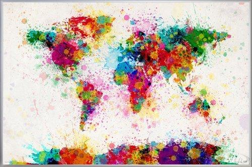 Close Up World Map Paint Drop Poster Michael Tompsett Weltkarte (62x93 cm) gerahmt in: Rahmen silber - Tompsett Weltkarte Michael