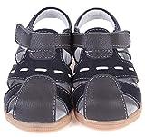 Gaatpot Enfant Sandales et Nu-Pieds en Cuir Bébé Chaussure Sandales Bout Fermé Chaussure d'été pour Garçon Fille Noir 24 EU(25 CN)