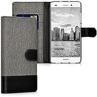 kwmobile Hülle für Huawei P8 Lite (2015) - Wallet Case Handy Schutzhülle Kunstleder - Handycover Klapphülle mit Kartenfach und Ständer Grau Schwarz