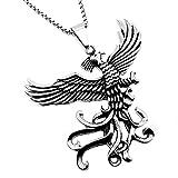 BOBIJOO Jewelry - La imposición de Colgante de Hombre Fénix Ave de Fuego de Dragón de Acero Inoxidable + Cadena