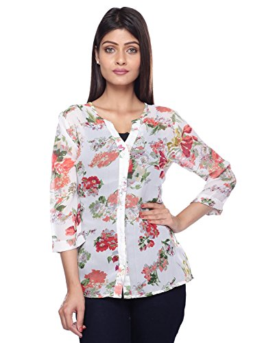 LUCKY CHARM Women Beige Printed Casual Shirt  available at amazon for Rs.299