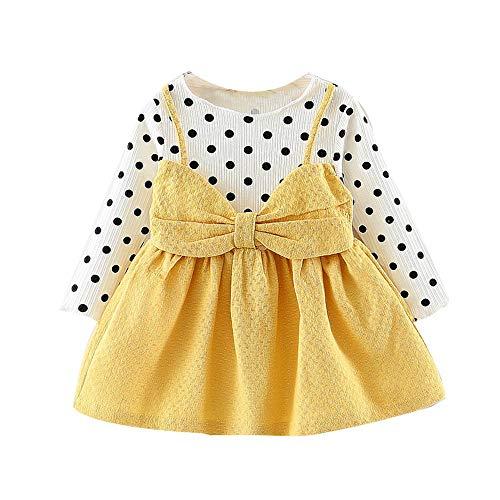 IZHH Baby Mädchen Prinzessin Kleider, Langarm Neugeborenen Polka Dot Bowknot Prinzessin Kleid Kleidung Outfits Karneval Ostern (6M-24M)(Gelb,80)