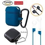 Oarco per Apple Airpods Case + Silicone Cinghia dell Anti-perso (Magnete ) + EVA Cuffie tasche, Per Airpods Cuffie Accessori il Antiurto a Prova di Polvere/Custodia Set, Azzurro/Blu