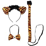 Tiger Kostüm Damen Safari Tierkostüm 3 tlg. Sexy Katzenkostüm Tigerkostüm Set Karnevalskostüme Tiere Zoo Faschingskostüm Dschungel Katze Kostümset