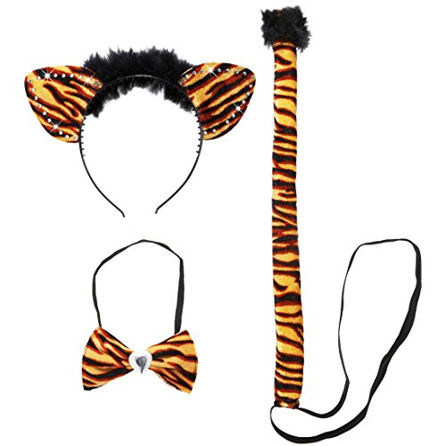 Tiger Kostüm Damen Safari Tierkostüm 3 tlg. Sexy Katzenkostüm Tigerkostüm Set Karnevalskostüme Tiere Zoo Faschingskostüm Dschungel Katze (Katzen Kostüme Dschungel)