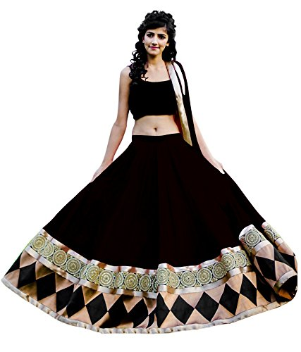 Pavitra Creation Deisgner Black Net Partywear Embroidered Semi-Stitched Lehenga-Unstitched Choli With Net Dupatta Black Baby