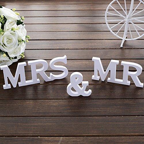 Mr & Mrs Holz buchstaben Holz Wörter Hochzeit Dekoration fur hochzeitsfeier vorbereitungsklasse dekoration 1Set weiß
