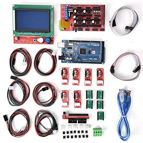 Tangxi Kit CNC Stampante 3D con Protezione CNC+A4988 Driver Motore Passo-Passo+Scheda Uno R3+Dissipatore+Mega 2560 R3+ Controller Intelligente LCD+Cavo USB,Kit CNC per Kuman Uno R3 Arduino GRBL