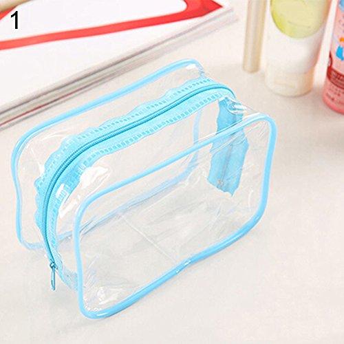 Portable Transparent de voyage maquillage Fermeture Éclair de toilette Sac de rangement Pochette bleu bleu taille unique