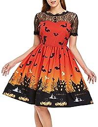 Gaddrt Femme Mode Halloween Dentelle Manches Courtes Vintage Robe soirée Robe