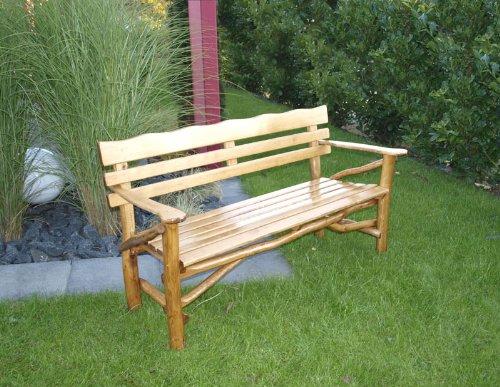 TPFGarden Gartenbank Darwin 3-sitzer aus Eiche + Buche massiv | Knüppelholzbank | Holzschutzlasur + Klarlackschicht | Farbton: Eiche dunkel | 1 Stück