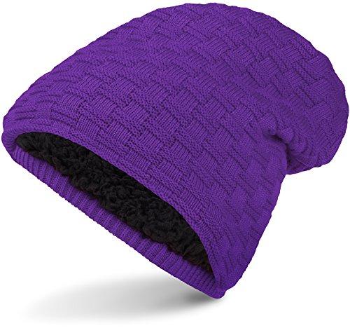 Warme Feinstrick Beanie Mütze mit Flecht Muster Grobstrick und sehr weichem Innenfutter, Unisex (Purple) (Beanie Lila Long)