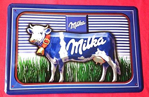 Blechschild 20x30 cm MILKA Schokolade lila Kuh Werbung Bar Essen Metall Schild