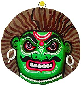 Kathakali Face Mask -Papier Mache (H6.5xL6.5xW2 IN)