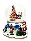 ambestore Große Mechanische Spieluhr Schneekugel Schüttelkugel Weihnachtsmann Deko 12,5cm Ø Dekoration Spieldose Weihnachten Weihnachtsdekoration Musik Schnee