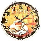 Perla PD Design Orologio da parete in metallo con vetro vintage design Espresso colore bianco antico dipinto ca. Ø 30cm