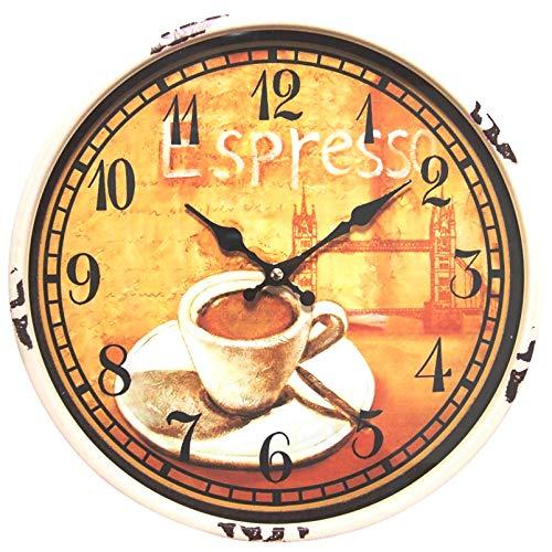 perla pd design Metall Wanduhr mit Glasscheibe Vintage Design Espresso Farbe altweiss lackiert ca. Ø 30 cm - Espresso-metall