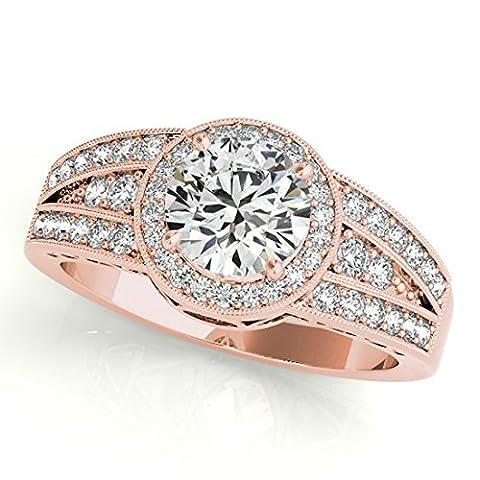 Vorra Fashion 14K Rose Gold 925 Silver Engagement Ring Split