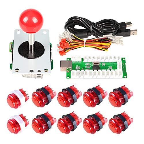 EG Starts retard zéro USB Encoder LED aux jeux pour PC Red Sticker  contrôleur + 10 x LED Boutons lumineux pour arcade joystick DIY Kit parts  Mame