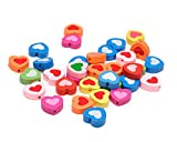 Beads Unlimited Unbegrenzte 18 mm, gefärbtes Holz Herz-Mix, 50 Stück, Mehrfarbig