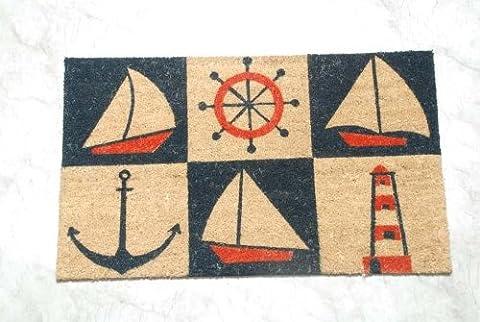 Homescapes Schmutzfangmatte Fußmatte Nautical 45 x 75 cm (Breite x Länge) Türmatte aus 100% Kokosfaser mit rutschfestem Gummirücken strapazierfähiger Fußabtreter