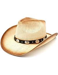 Shishanyun Sombrero de Vaquero de Las Mujeres de los Hombres de la Paja Sombrero  Occidental del Vaquero del Hombre con la Venda de… a4589344dff