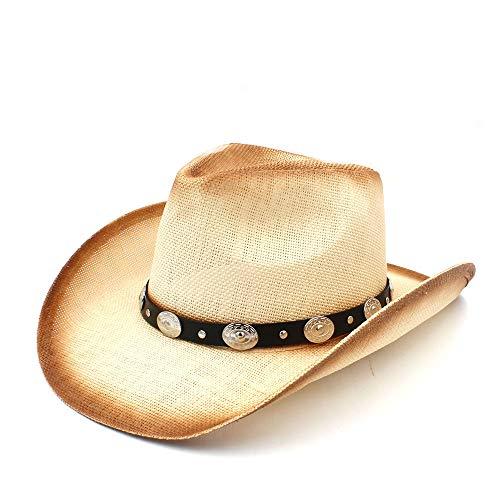 (Drke- Western Sombrero Sonnenhüte Hombre Cowgirl Frauen Männer Stroh Cowboy-Hut mit Mode Lederband für Lady Dad Western Sombrero Hombre Cowgirl (Farbe : Natürlich, Größe : 58 cm))