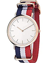Shree Enterprise Watch With White Dial Red, Blue, White Belt | 3 Colored Belt | Casual Wear | Fashion Wear | Suitable...