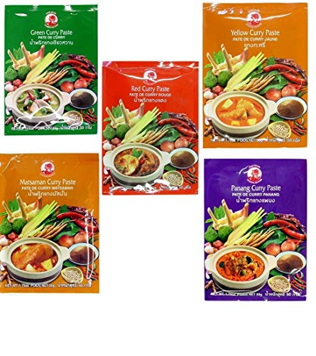 Cock Brand - 5 verschiedene Curry Pasten je 50g (Rote, Gelbe, Grüne, Panang, Matsaman)