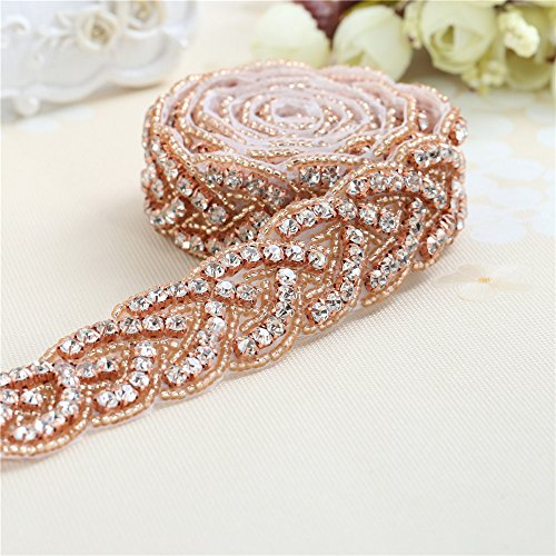Strass Applique für Hochzeit Schärpe von Eisen auf oder Nähen (Rose Gold)