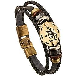 Soleebee Schmuck Herren Damen Armband,Tierkreis Sternzeichen Charms Druckknopf Größen Armreif Büffelleder Legierung Schwarz (Skorpion)