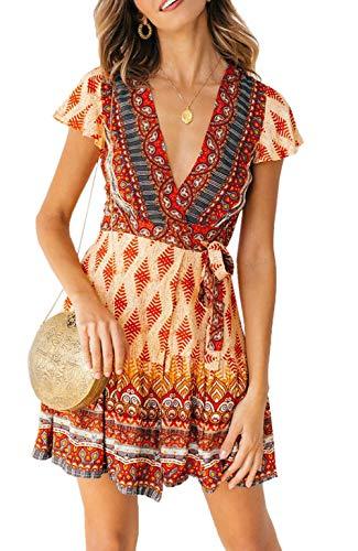 Ajpguot Damen Kurz Kleider Boho Vintage Sommerkleid V-Ausschnitt Blumen Kleid A-Linie Minikleid Swing Strandkleid mit Gürtel, 101024rot, M