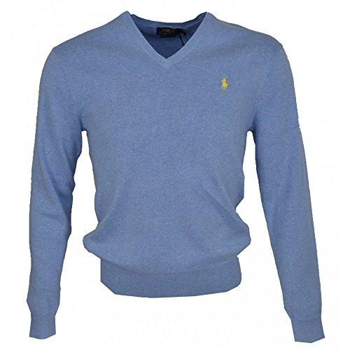 Ralph Lauren V-Neck Pullover, Blau mit gelbem Reiter Blau