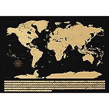 NIMAXI Mapa mundial para rascar, tamaño 83x58 cm, Color negro, alto brillo, Carta del mundo XXL con banderas para rascar gratis