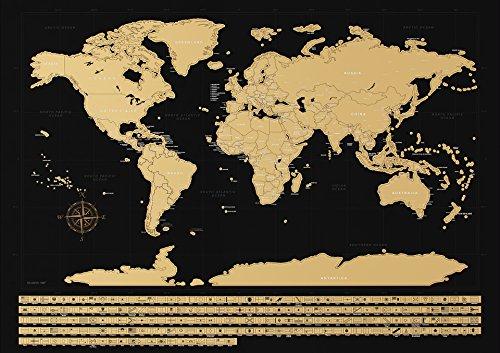 NIMAXI Mapa mundial para rascar, tamaño 83x58 cm, color: negro, alto brillo, Carta del mundo XXL con banderas para rascar gratis