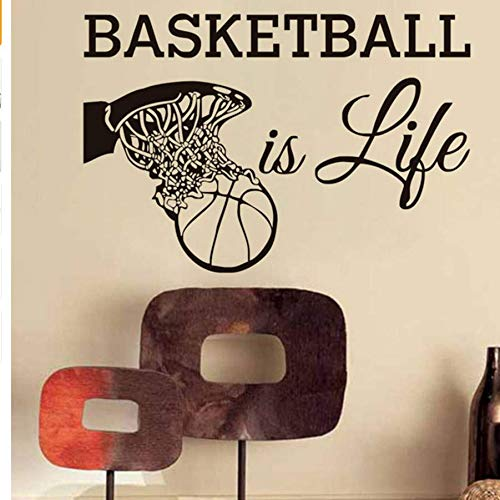 Ist LebenWandtattoos Sport Fans VinylAbnehmbareDecor Basketball In Den Korb Wandaufkleber Für Jungen 86 * 58 Cm ()