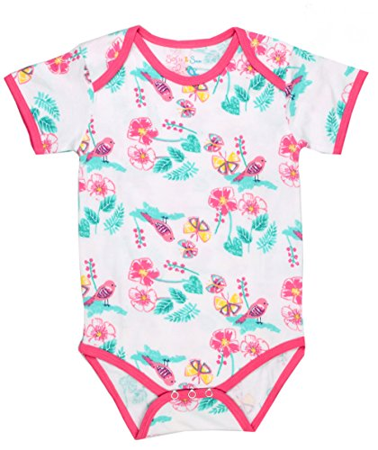 Sofie & Sam London, Baby Bodysuit Romper Onesie made from Organic Cotton,Flower Multi colour