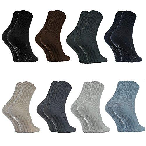 8 Paar Anti-Rutsch Socken ohne Gummibund für Geschwollene Füße, Stoppersocken ABS System Für Diabetiker und Krampfader, Größen 44-46 Classic, Bequem und Zart, Zertifikat Öko-Tex, made in Europa