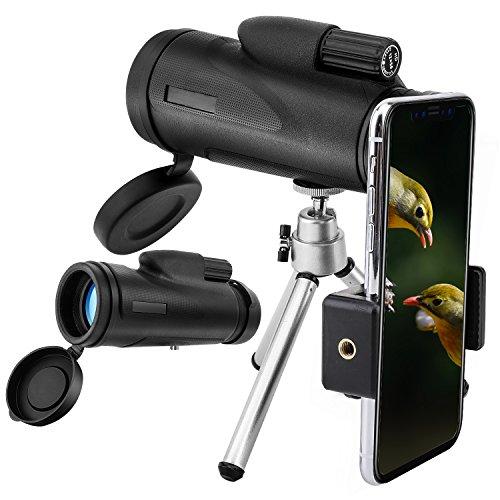 MoKo 12X50 Monokular Teleskop für iPhone XS/XS Max/XR– HD Monokular Fernglas...