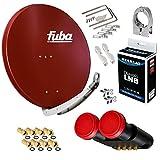FUBA 4 Teilnehmer 2 SAT Digital SAT Anlage DAA850R + Megasat Diavolo Monoblock Quad LNB Astra Hotbird 0,1dB Full HDTV 4K + 8 Vergoldete F-Stecker Gratis dazu