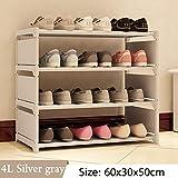 TANQeas Einfache Multi Layer Schuhregal Nonwovens Einfach Montieren Lagerregal Schuhschrank Mode Bücherregal Wohnzimmer Möbel 4L Silver Gray