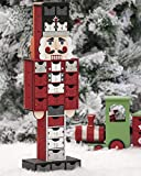 Valery Madelyn Holz Adventskalender zum Befüllen Nussknacker König Figur Weihnachtsdekoration 46cm wiederverwendbar Weihnachtskalender Countdown bis Weihnachten Rot Weiß Schwarz MEHRWEG Verpackung