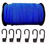 10mm corde Caoutchouc Expander corde en bleu 20m + 20Crochet spiralé caoutchouc Laisse planifier Corde Corde Bâche Pendentif réseaux Camion