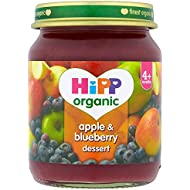 HiPP Organic Stage 1 From 4 Months Apple and Blueberry Dessert 6 x 125 g (Pack of 2, Total 12 Pots)
