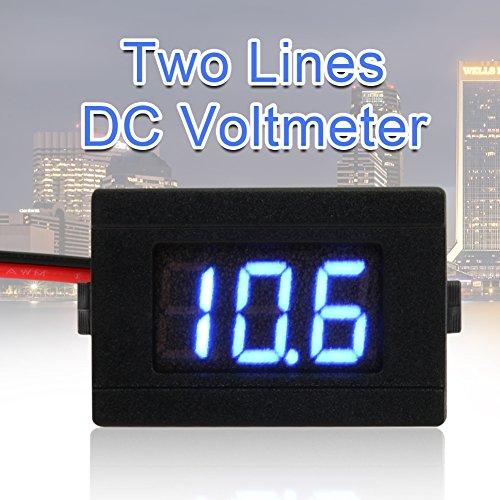 asiproper 0,9cm LED Digital Voltmeter DC 4,5–30V Zwei line Volt Meter, blau