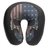 RGFJJE Nackenhörnchen American Honourable Flag Skull Memory Foam U-Shaped Pillow,Novelty Travel Rest Pillow for Neck Pain,Breathable Soft Comfortable Adjustable Seitenschläferkissen