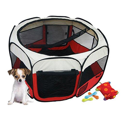 Todeco - Laufstall für Haustiere, Park für Hund - Material: PVC-beschichtetes Polyester - Durchmesser: 125 cm - Rot