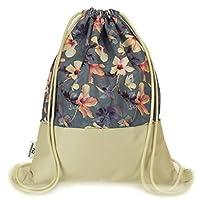 Ferocity Deluxe Drawstring Gym Bag With Large Pocket inside Premium Backpack Rucksack School Sack-pack Shopping Pastel Flowers [010]