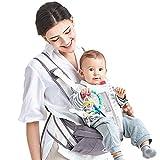 XBYEBD Ergonomische Babytrage, Reflektierendes Streifendesign - Geben Sie Den Vier Jahreszeiten Zurück, Baumwolle + Polyester Atmungsaktives Mesh Grau (30 Kg, 0-36 Monate)